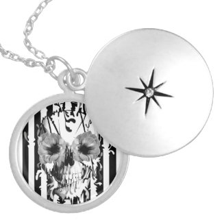 Limbo, black and white striped skull silver plated necklace