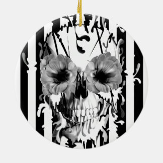 Limbo cráneo con los ojos de la amapola ornamento de navidad