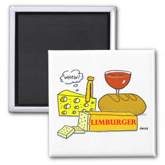 Limburger Cheese Tasting Party Favor Cartoon 2 Inch Square Magnet