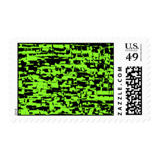 Lime Abstract Crackle Postage