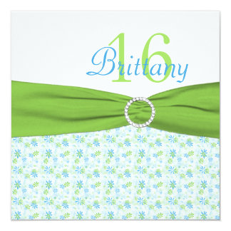 Lime and Aqua Floral Sweet Sixteen Birthday Invite