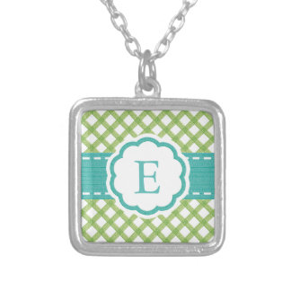 Lime and Aqua Gingham Monogrammed Square Pendant Necklace