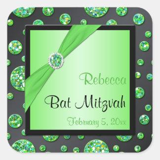 Lime and Black 1 5 Square Bat Mitzvah Sticker