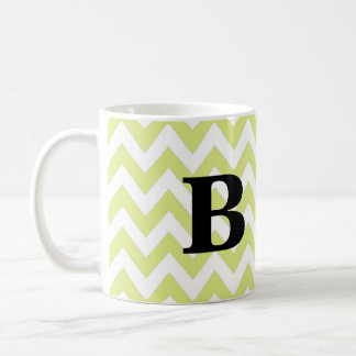 Lime and Black Chevron Monogram Mug