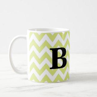Lime and Black Chevron Monogram Mug