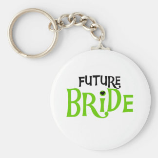 Lime and Black Future Bride Basic Round Button Keychain