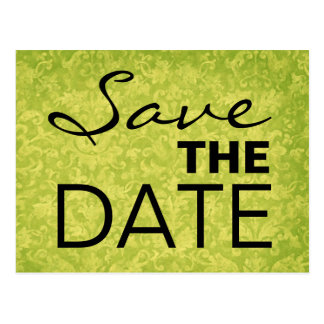 Lime and Black Grunge Damask Save the Date S531 Post Cards