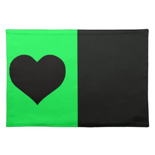 Lime And Black Heart Cloth Place Mat