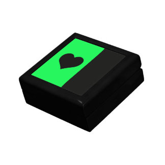 Lime And Black Heart Keepsake Box