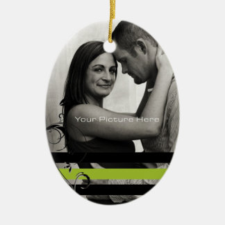 Lime and Black Photo Engagement Ceramic Ornament