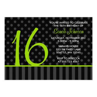 Lime and Black Polka Dot Stripes Sweet 16 Birthday Custom Announcement