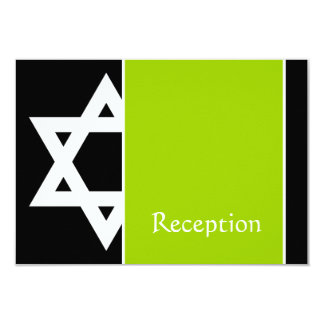 Lime and Black Star of David Bar Mitzvah Reception Card