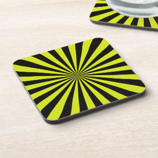 Lime and Black Sun Rays Pattern Drink Coaster