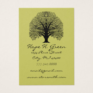 Lime and BLack Swirled Tree Business Card