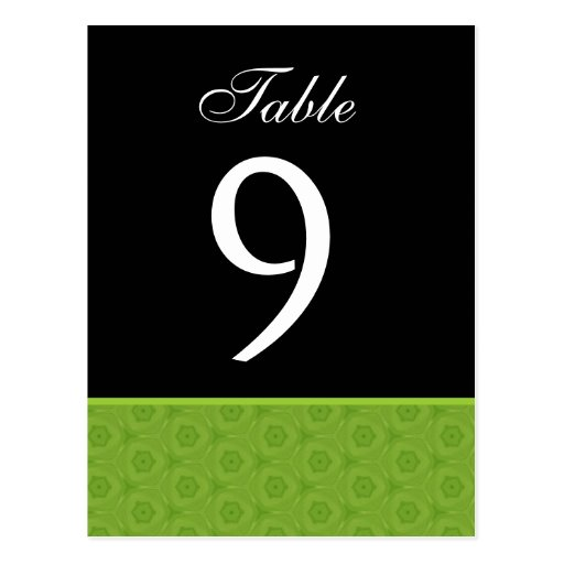 Lime and Black Wedding Table Number Card B461 Postcard