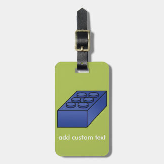 Lime and Blue Building Black Toy Custom Text Bag Tag
