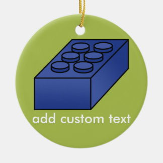 Lime and Blue Building Black Toy Custom Text Ceramic Ornament