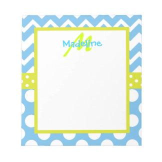 Lime and Blue Chevron Polka Dots Monogram Notepad