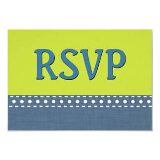 Lime and Blue Jeans RSVP Stitches Polka Dots V10T Card