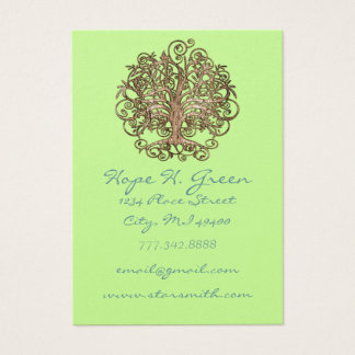 Lime and Brown Swirled Tree Business Card