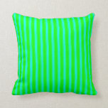 [ Thumbnail: Lime and Cyan Colored Striped/Lined Pattern Pillow ]