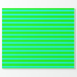 [ Thumbnail: Lime and Cyan Colored Striped/Lined Pattern Wrapping Paper ]