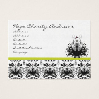 Lime and Damask Fashion Diva Business Card