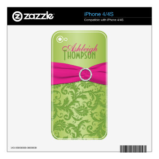 Lime and Fuchsia Damask iPhone4/4s Skin Skin For iPhone 4