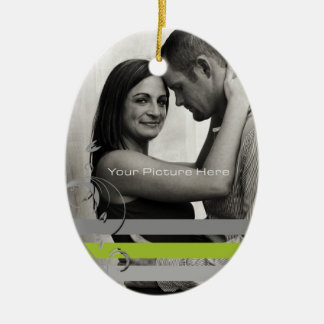 Lime and Gray Photo Engagement Ceramic Ornament