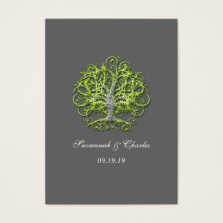 Lime and Gray Swirled Tree Business Card