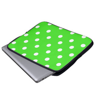 Lime and Green Polka Dot Pattern Laptop Sleeve