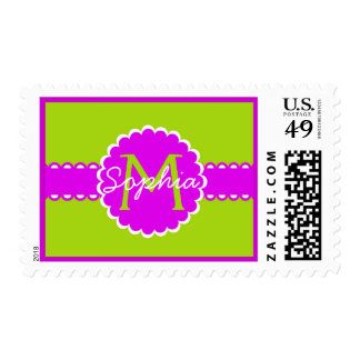 Lime and Hot Pink Monogram Label Stamps