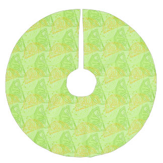 Lime and Lemon Slices Pattern Brushed Polyester Tree Skirt