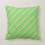 [ Thumbnail: Lime and Light Pink Pattern Throw Pillow ]