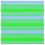 [ Thumbnail: Lime and Light Sky Blue Colored Stripes Fabric ]