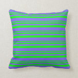 [ Thumbnail: Lime and Medium Slate Blue Colored Stripes Pillow ]