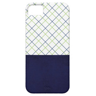 Lime and Navy Plaid IPhone 5 Case