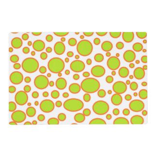 Lime and Orange Polka Dots Laminated Placemat