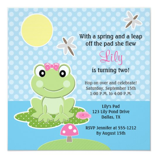 Lime And Pink Bow Frog Birthday Invitations