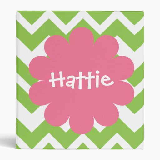 Lime and Pink Chevron Zigzag Personalized Binder