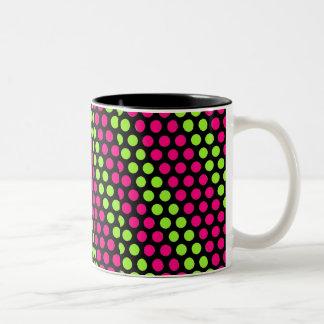 Lime and Pink Polka Dots Two-Tone Coffee Mug