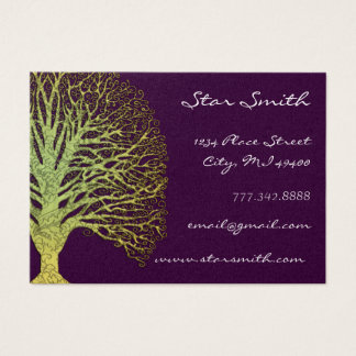 Lime and Plum Swirl Tree Business Card