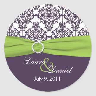 "Lime and Purple Damask 1.5"" Round Sticker"
