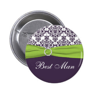 Lime and Purple Damask Best Man Pin