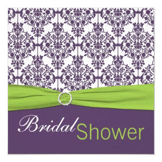 Lime and Purple Damask Bridal Shower Invitation