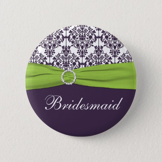 Lime and Purple Damask Bridesmaid Pin
