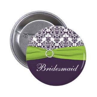 Lime and Purple Damask Bridesmaid Pin