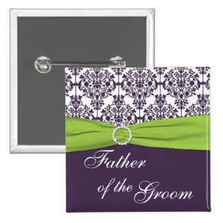 Lime and Purple Damask Father of the Groom Button