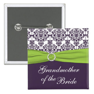 Lime and Purple Damask Grandmother of the Bride Button