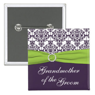 Lime and Purple Damask Grandmother of the Groom Pinback Button